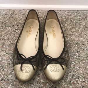 EUC Chanel ballet flats brown tweed 39.5 9